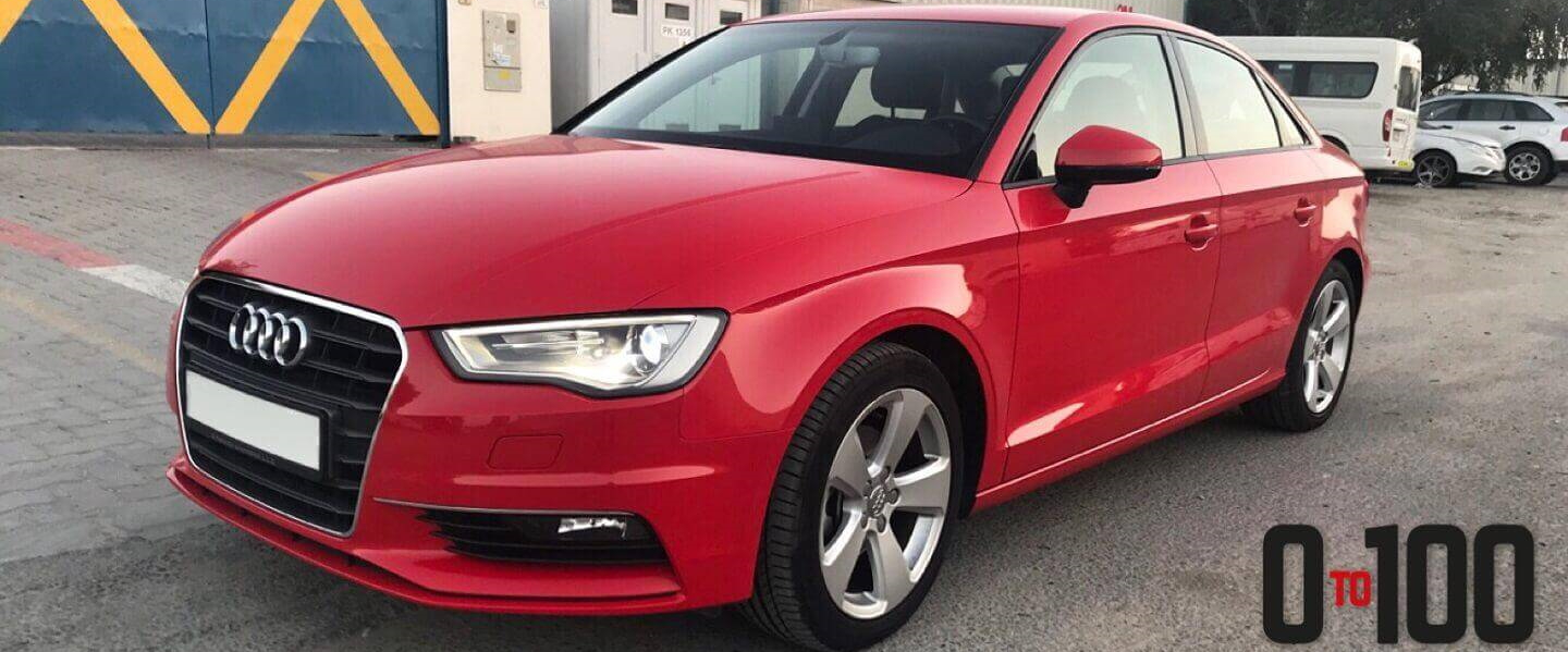 Audi A3 in red color