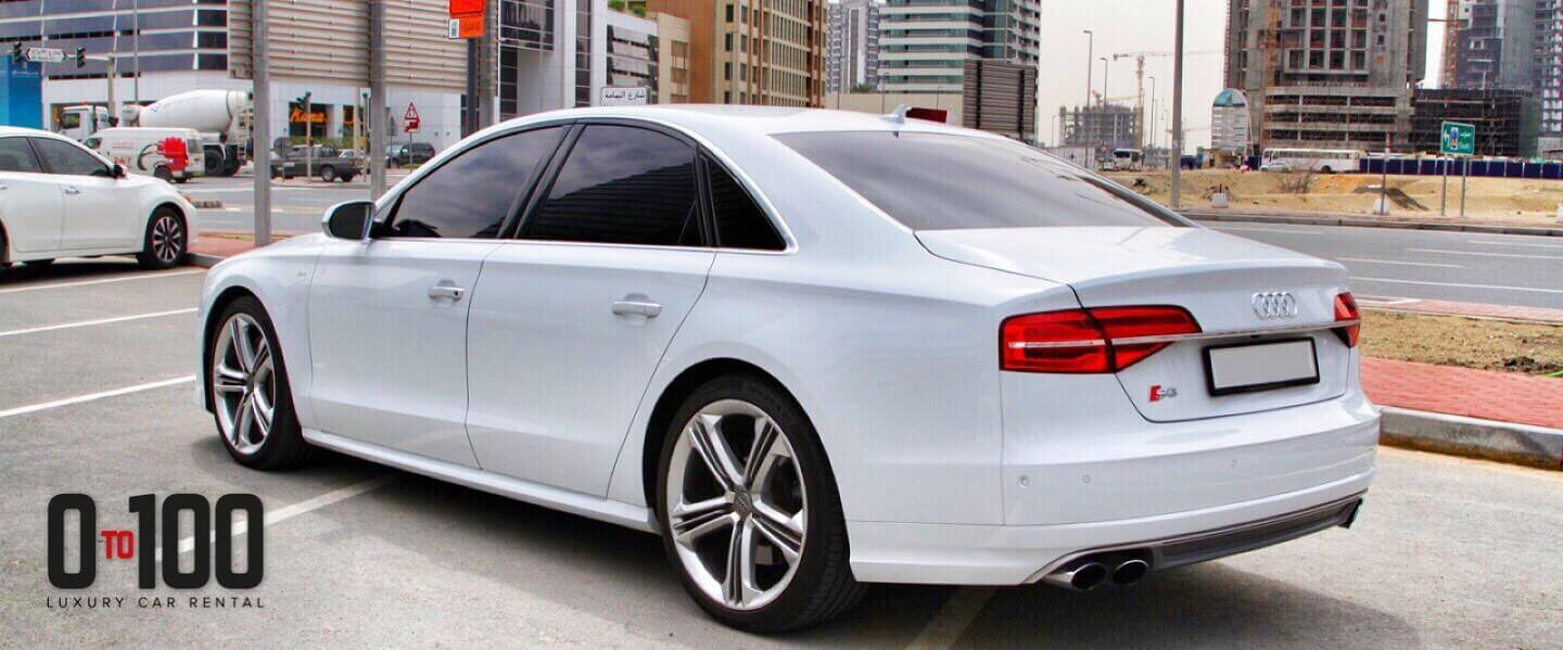 Audi A8 in white color