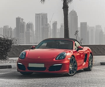 Porsche Boxster in red color